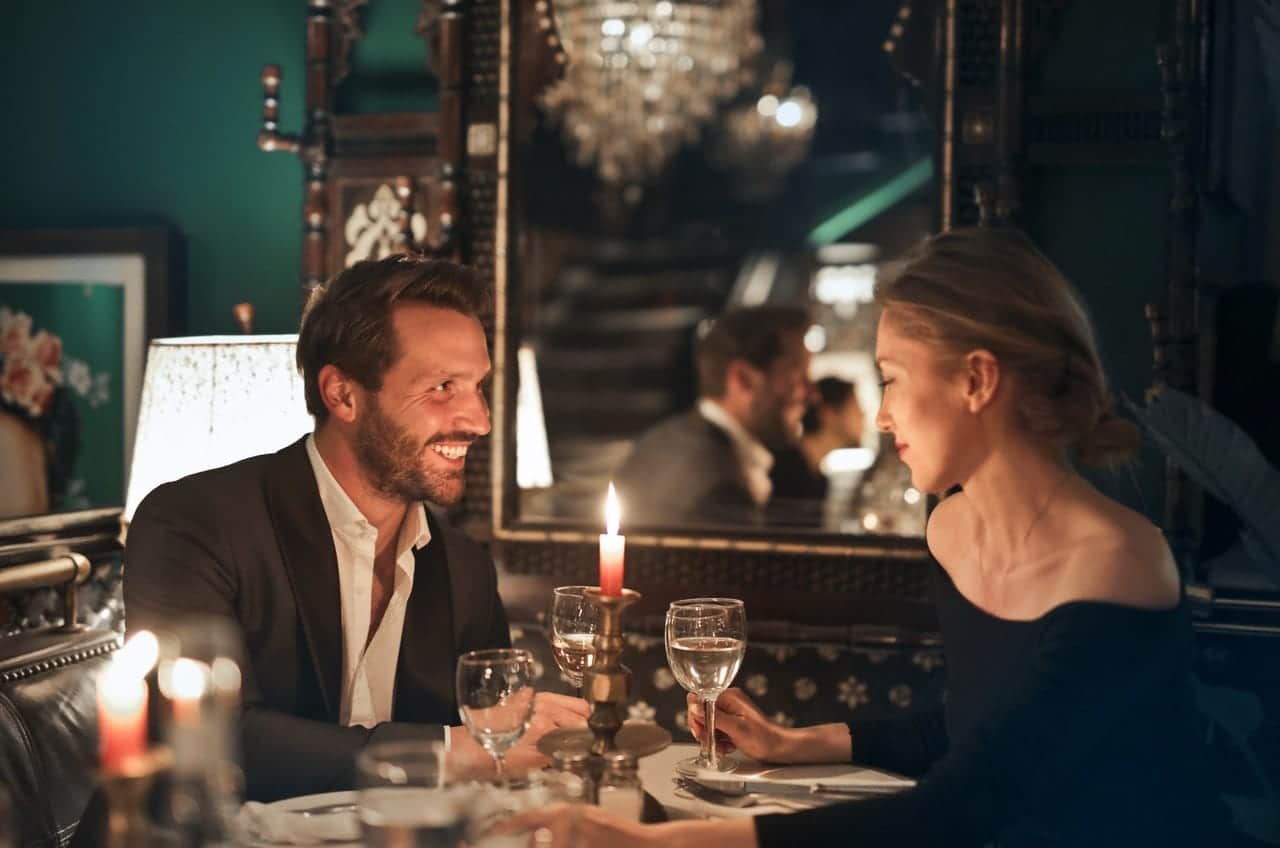 Man and Woman having dinner in a restaurant